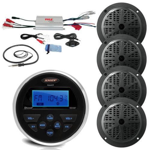 """Antenna 4/""""Black Speakers Amplifier Bluetooth 160W USB AUX Marine Jensen Radio"""
