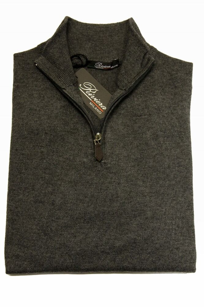 Riviera Sweater: XX-Large Soft medium Grau, 1/2 zip front, cashmere/silk