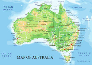 Details about Map of Australia from A5 to A0 Size, Poster Education Aid.