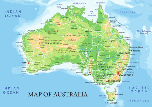 Map of Australia from A5 to A0 Size Poster Education Aid.