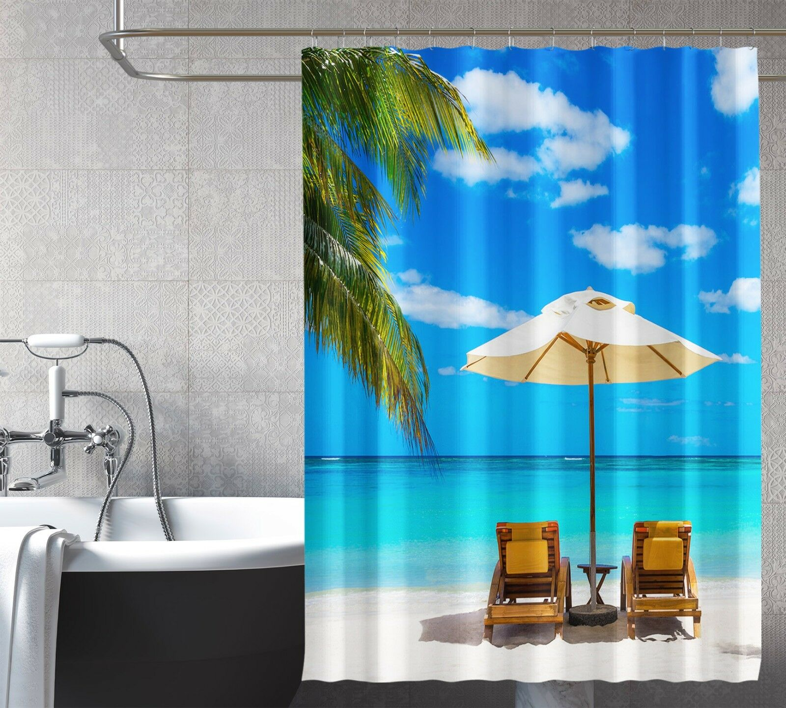 3D Beach Vacation 1 Shower Curtain Waterproof Fiber Bathroom Home Windows Toilet