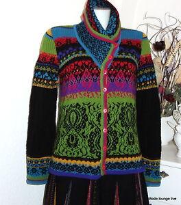 Ivko-Giacca-di-Maglia-Lana-Cardigan-Blackschwarz-Verde-Colorato-54506