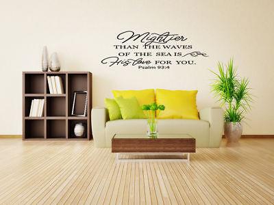 Psalm 93:4 Bible Verse Vinyl Wall Stickers Decals Scripture Quote Word Art Decor