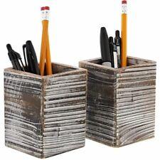 2 Pack Paper Junkie Rustic Wood Pencil Holder For Desktop Amp Home 3x 3x 4