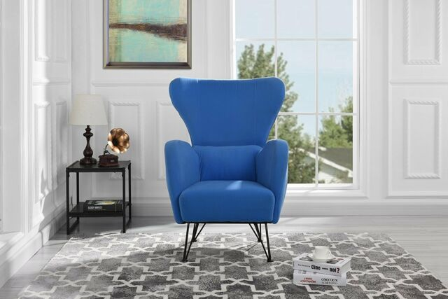 Mid-Century Velvet Accent Arm Chair with Shelter Style Living Room Decor,  Blue