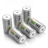 Ebl High Volume 5000mah 1.2v C Size Cell Ni-mh Rechargeable C Batteries, 6 Pack