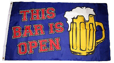 This Bar Is Open Flag 3 x 5 Ft   Beer Mug  Suds Party Dorm Advertising Banner
