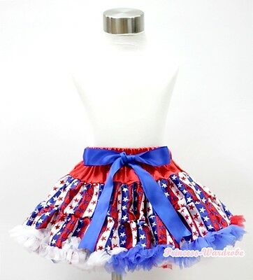 4 TH July Blue Pettitop Sparkle Glitter Star Red White Blue Ruffle Pants 1-8Year