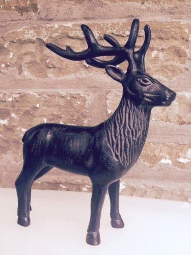 Antique Stag Ornament in Aluminium Reindeer Deer Antlers Head Statue Gift New