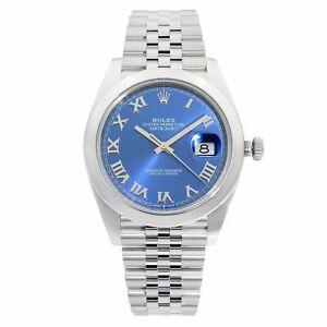 Rolex-Datejust-41-Steel-Blue-Roman-Dial-Jubilee-Automatic-Mens-Watch-126300