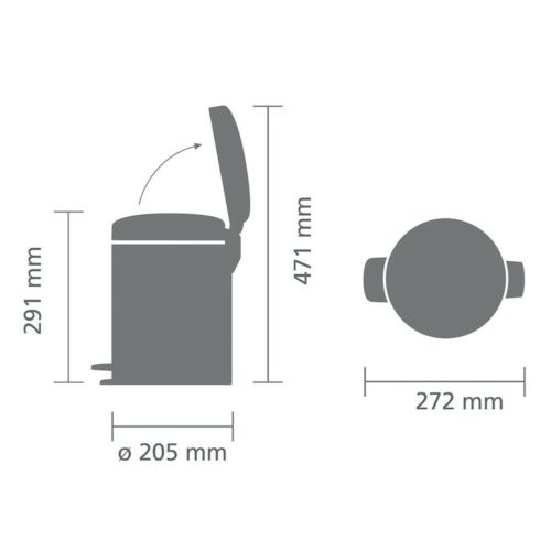 brabantia Kosmetikeimer NewIcon 5L Metallic Mint Mülleimer Badeimer Treteimer