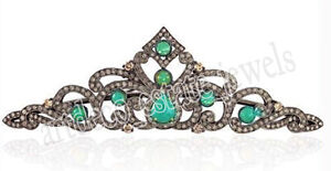 Collection Here 9.25cts Rose Cut Diamond Emerald Antique Victorian Look 925 Silver Tiara To Clear Out Annoyance And Quench Thirst Engagement & Wedding Jewelry & Watches