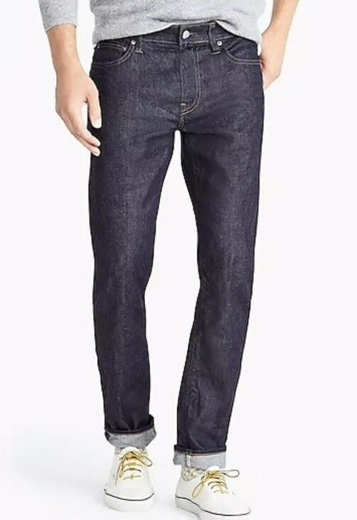 "JCREW 484 Slim-fit jean stretch resin rinse Japanese denim Sz34 34 J5024 FA""18"