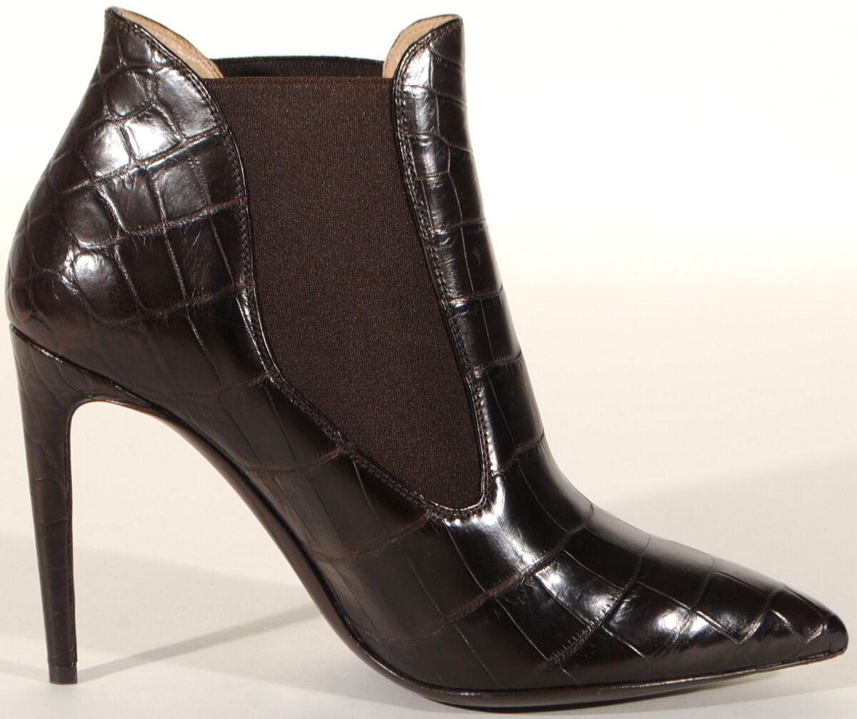 Ralph Lauren Tallen Chocolate Crocodile Ankle Boot Bootie 4