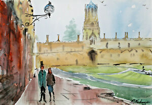 Oxford-Christchurch-spires-cathedral-university-watercolour-original-painting-A3