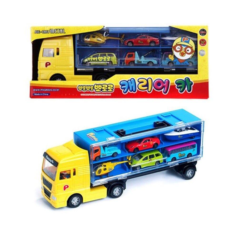 Pguldro Mica Carrier Bil Play Set leksak med 6 Pcs Mini Bilfordon för Barn gåva