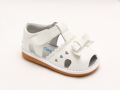 Girl's Infant Toddler Children's Squeaky Shoes White Patent Summer Sandals