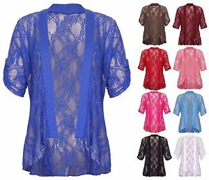 Womens-New-Floral-Lace-Short-Sleeve-Ladies-Waterfall-Open-Cardigan-Top-Plus-Size