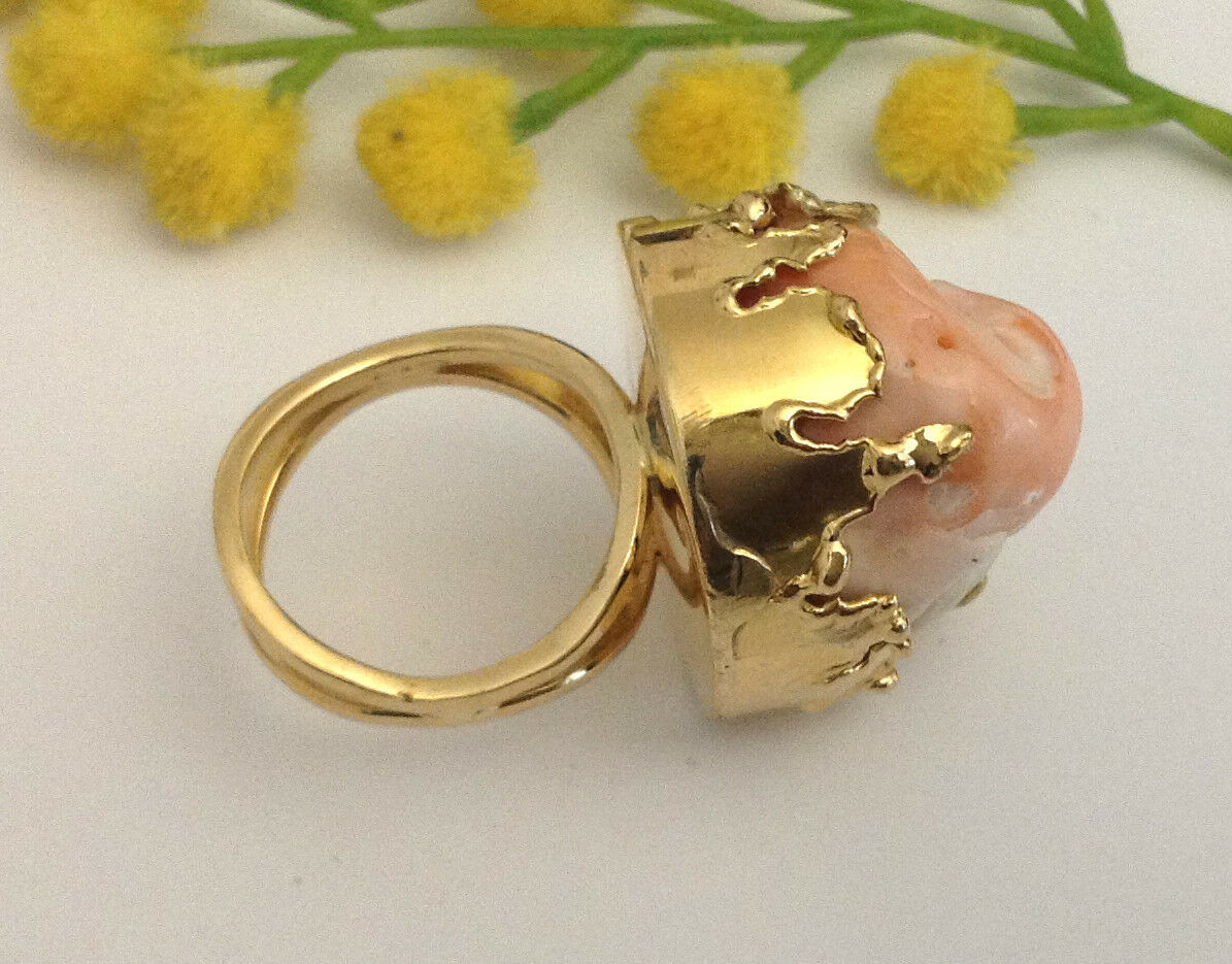 BELLISSIMO ANELLO IN gold 18KT CON CORALLO - 18KT SOLID gold RING WITH CORAL