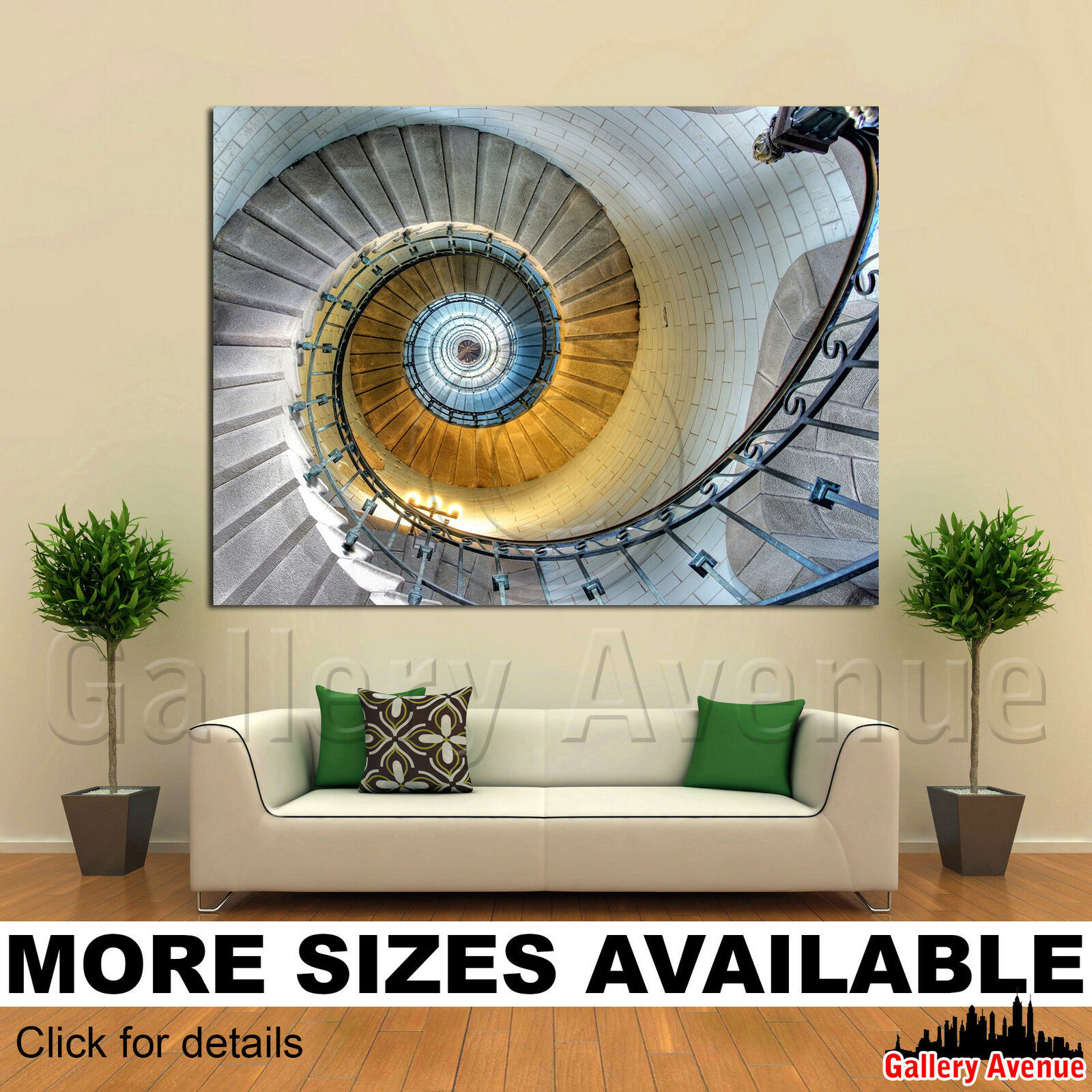 A Wall Art Canvas Picture Print - Spiral Staircase France 4.3