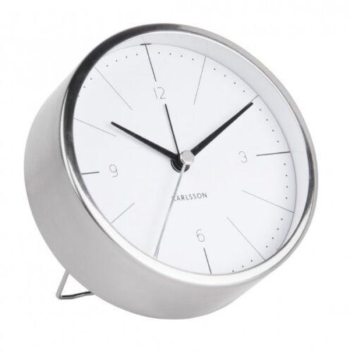 Karlsson Normann Réveil Argent Case visage blanc Silencieux Moderne 10 cm diam