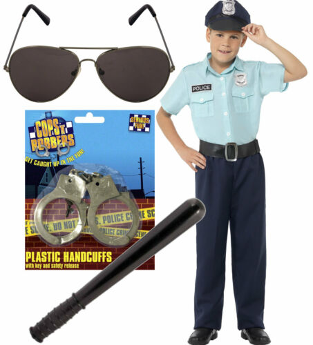 Boys Kids Smiffys Police US Cop Blue Fancy Dress Costume Opt Shades Cuffs Stick