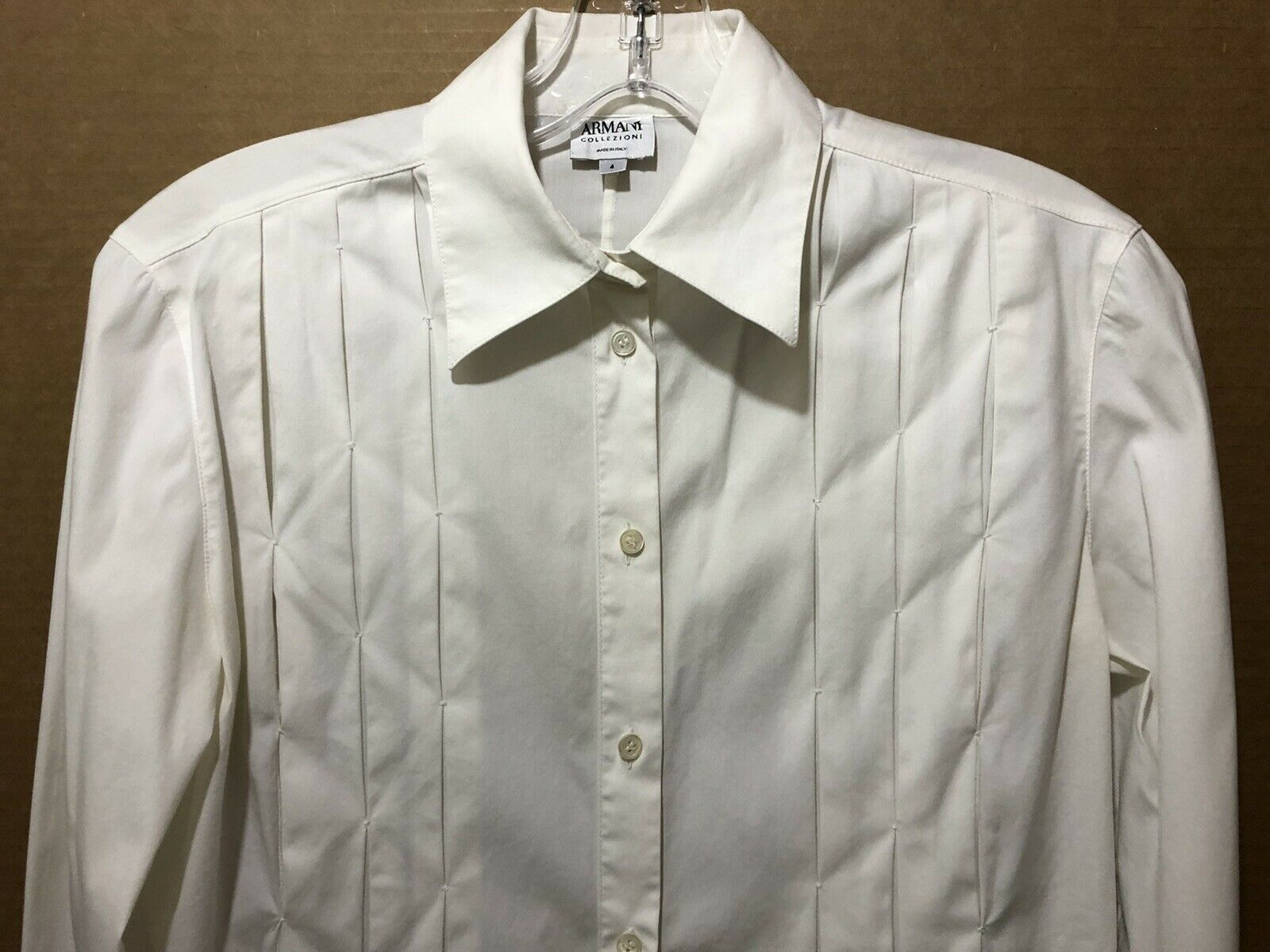 Armani Collezioni ITALY Ivory Pleated Button Up W… - image 6
