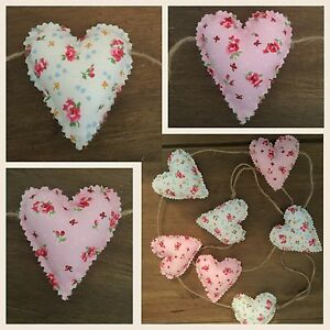 Handmade Fabric Shabby Chic Love Heart Garland Bunting - <span itemprop=availableAtOrFrom>middle rasen, Lincolnshire, United Kingdom</span> - Handmade Fabric Shabby Chic Love Heart Garland Bunting - middle rasen, Lincolnshire, United Kingdom