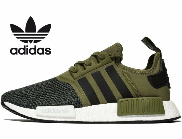 Adidas Originals NMD R1 Military Green White Bb6788 Size 9