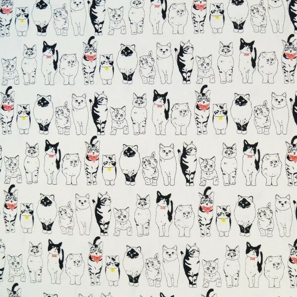 Purrfect Patient Hungry Kitty Cats In Lines 100% Japanese Cotton Fabric