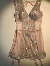 Victoria's Secret 36c Merry Widow High Neck Pale Pink Metallic Silver BNWT