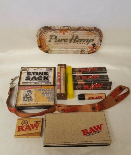 Bundle Raw Black Rolling Papers King Size Slim 110mm Roller Pure Hemp Tray More