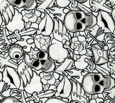 Wassertransferdruck Folie Skulls Stickerbomb schwarz - 50cm breit
