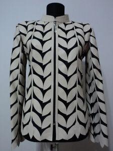 Beige Woman Leather Coat Women Jacket Zipper Short Collar All Size Light D4