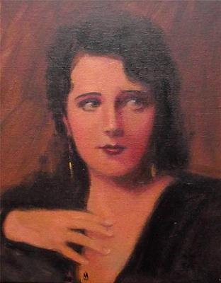 "The Spanish Lady : Nostalgic Lady Original Oil Painting by Nigel Mason 10"" X 8"""