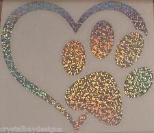 Love Dog Heart Paw Glitter Holographic Vinyl Car Decal Sticker Laptop 24-63