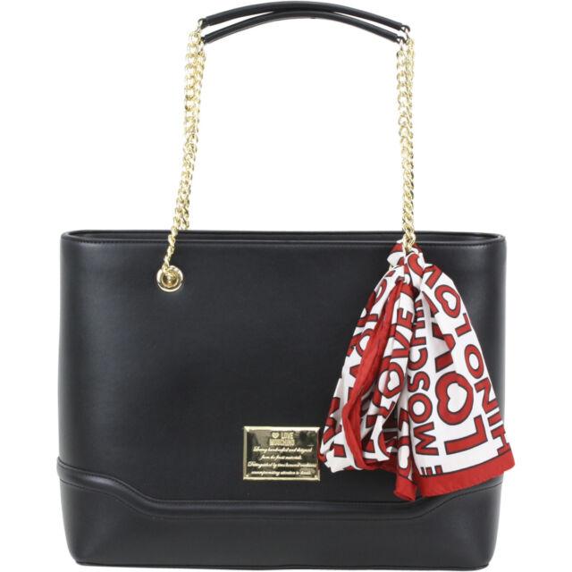 Love Moschino Logo Plaque Chain Handle Black Shoulder Tote Handbag W Scarf 5c4418e938
