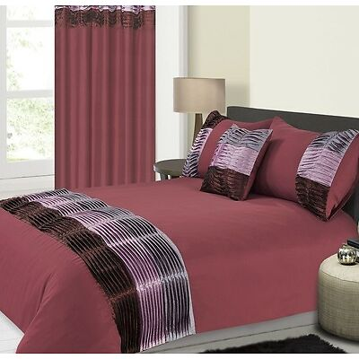 3pc Pintuck Pleated Metallic Duvet Bedding Quilt Cover set in Burgundy or Mocha