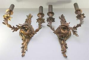 Antique-Leviton-Union-Made-Ornate-Brass-Wall-Sconce-Set-Victorian-Art-Nouveau