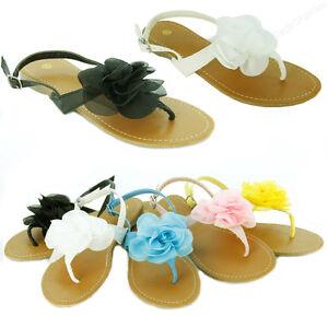 2bf0723ab4bff Image is loading Womens-Sandals-Cute-Ruffle-Flower-Thongs-Flats-Sandal-