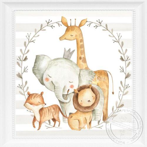 Las imágenes habitación infantil set Baby habitación animales imágenes niños carteles DIN a4 unisexs26