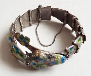 Bracelet-en-ARGENT-massif-et-email-Mexico-034-sterling-034-silver-serpent-snake