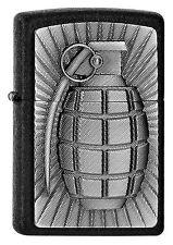 ZIPPO Feuerzeug HAND GRANATE m. Emblem in Black Crackle Explosion Waffe NEU OVP