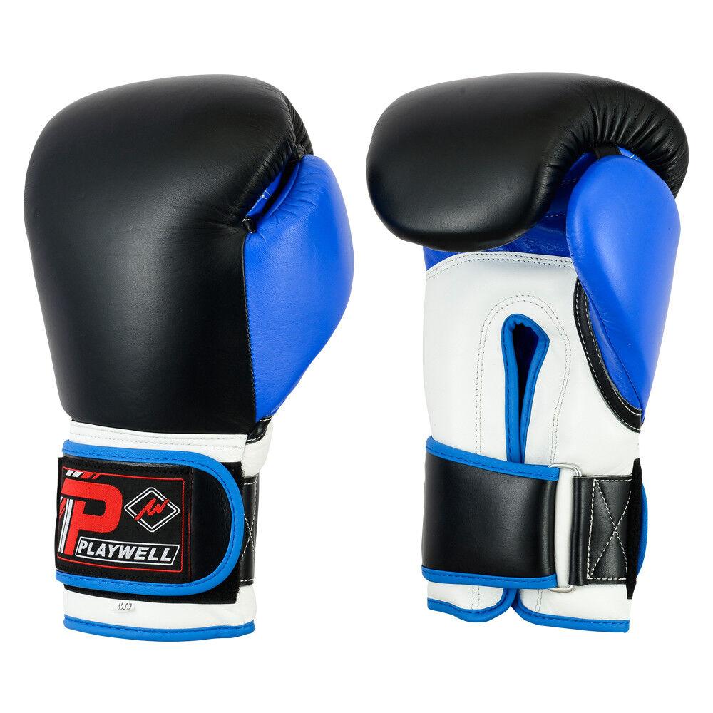 Playwell Leder pro V2p Boxhandschuhe Blau Sparring Muay Thai Mma Tasche