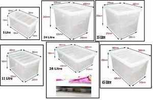 Clear-Plastic-Storage-Box-Boxes-With-Lids-UK-BRITISH-MADE-Home-Office-Stackable