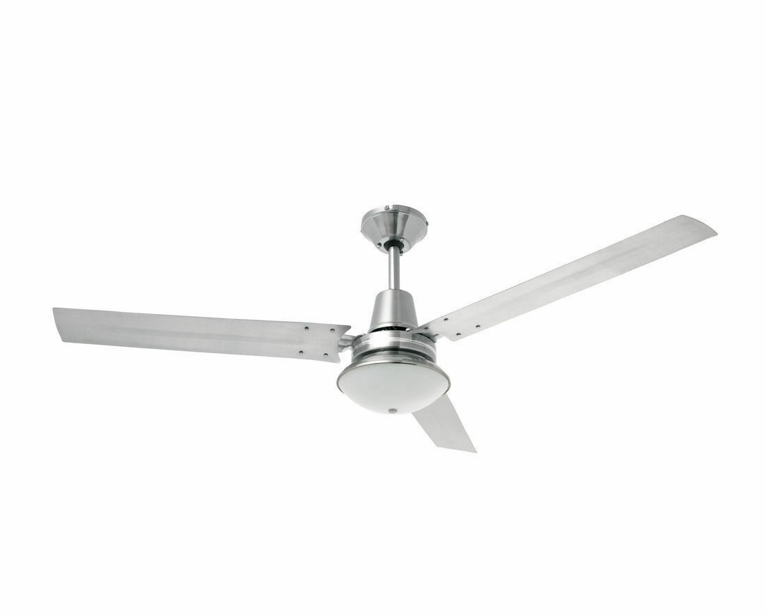 Heller 1200mm 3 Blade Brushed Stainless Steel Ceiling Fan Oyster Light TRINITY