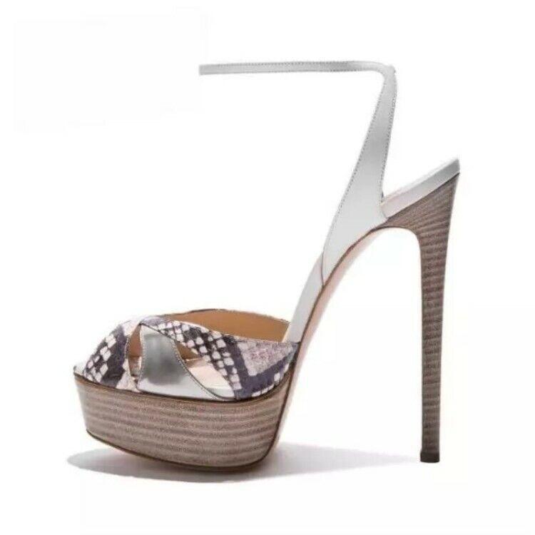Wouomo Snakeskin Grain High Heel Open Toe High Heel Platform Sandals Sexy scarpe