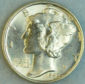 UNCIRCULATED-1942-P-Silver-Mercury-Dime-90-Silver-Fast-Shipping-76761