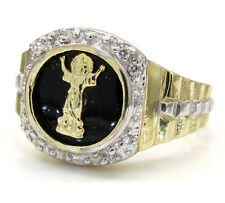 4 Grams size 9.75 10k Yellow Real Gold Mens Jesus Body Black Onyx Hip Hop Ring