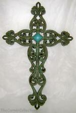 WROUGHT IRON LOOK CRACKLE FINISH TURQUOISE STUDDED WALL CROSS